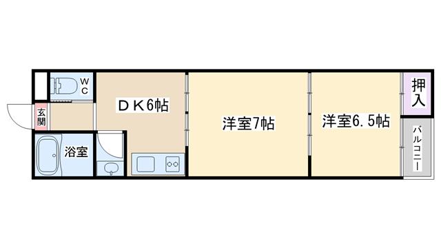 物件番号: 1068135275 豊里グランドハイツ  大阪市東淀川区豊里3丁目 2DK マンション 間取り図