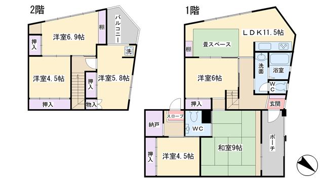物件番号: 1068135314 石原マンション  大阪市東淀川区淡路3丁目 6SLDK マンション 間取り図