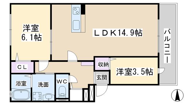 物件番号: 1068135326 ベルデ大森Ⅱ  大阪市東淀川区淡路4丁目 2LDK マンション 間取り図