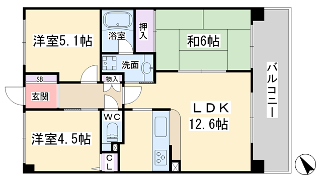 物件番号: 1068135328 サンシャイン淡路  大阪市東淀川区淡路4丁目 3LDK マンション 間取り図