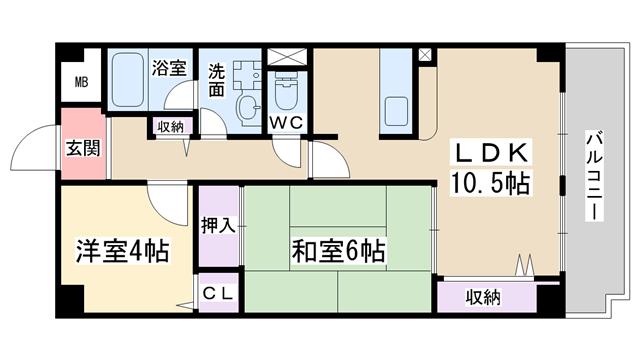 物件番号: 1068135392 メルヴェーユコマドリ  大阪市東淀川区淡路2丁目 2LDK マンション 間取り図