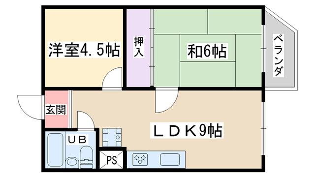 物件番号: 1068135502 東三国コーポ  大阪市淀川区十八条1丁目 2LDK アパート 間取り図