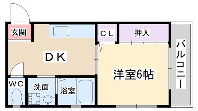 物件番号: 1068135509 メゾンアンユイ  大阪市淀川区十八条2丁目 1DK マンション 間取り図