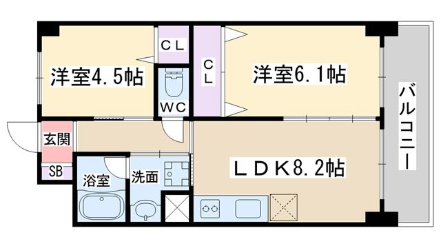 物件番号: 1068135550 プリマヴェーラ  大阪市淀川区十三東1丁目 2DK マンション 間取り図