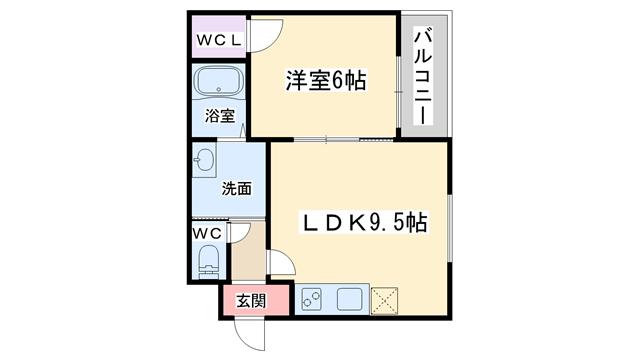 物件番号: 1068135667 フジパレス新高  大阪市淀川区新高5丁目 1LDK アパート 間取り図