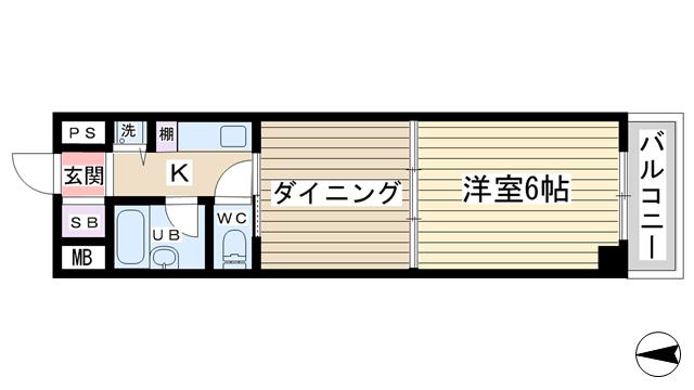 物件番号: 1068135714 ウィングNO.1  大阪市淀川区十三元今里2丁目 1DK マンション 間取り図
