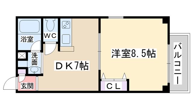 物件番号: 1068135723 レガロ  大阪市淀川区田川1丁目 1DK マンション 間取り図