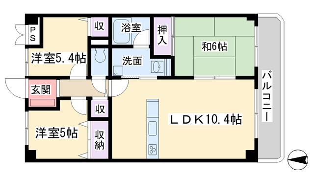 物件番号: 1068135777 タイガーアネックス  大阪市淀川区野中南2丁目 3LDK マンション 間取り図