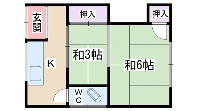 物件番号: 1068135785 谷文化  大阪市淀川区十八条3丁目 2K アパート 間取り図