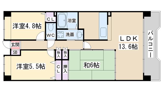 物件番号: 1068135852 淀川ハイライフマンション  大阪市淀川区野中北1丁目 3LDK マンション 間取り図