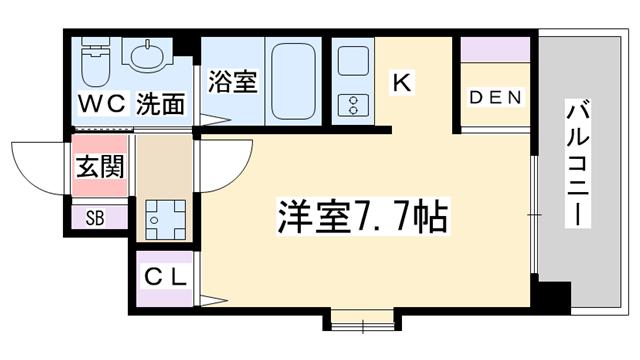 物件番号: 1068135872 W.O.B.MIKUNI  大阪市淀川区新高3丁目 1K マンション 間取り図