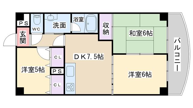 物件番号: 1068136002 ピノヴェルデ  大阪市東淀川区豊新5丁目 3DK マンション 間取り図