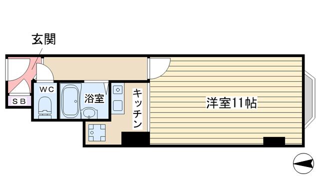 物件番号: 1068136015 チサンマンション第8新大阪  大阪市淀川区西中島7丁目 1R マンション 間取り図
