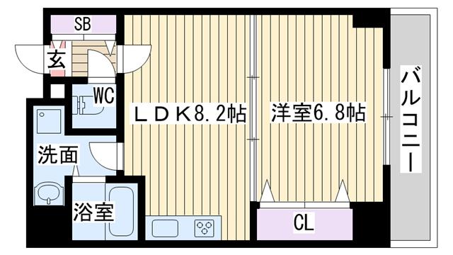 物件番号: 1068136652 ミド・エストツダ  大阪市淀川区西中島3丁目 1LDK マンション 間取り図