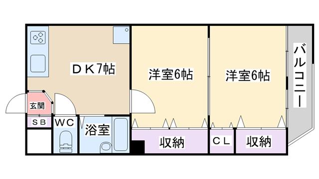 物件番号: 1068136716 サンマンション新大阪  大阪市淀川区木川東4丁目 2DK マンション 間取り図