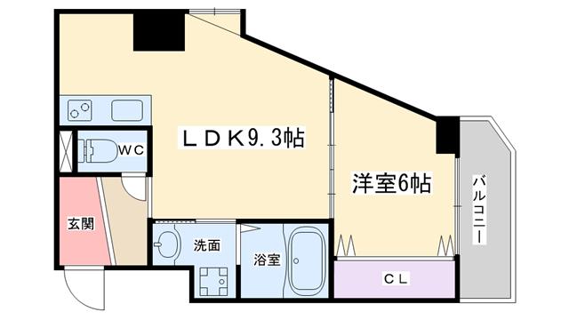 物件番号: 1068136791 I Cube新大阪東  大阪市東淀川区東中島6丁目 1LDK マンション 間取り図