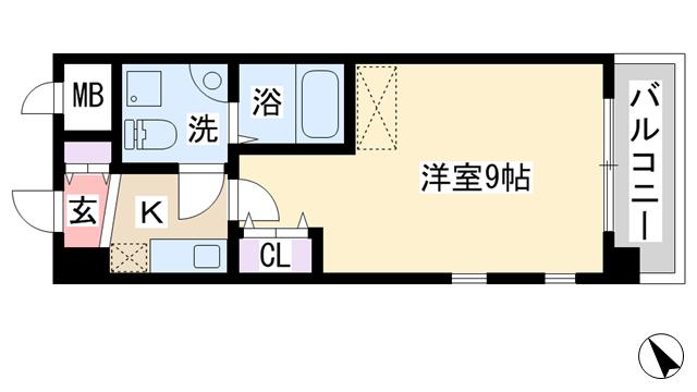 物件番号: 1068136800 CASSIA十三  大阪市淀川区十三東2丁目 1K マンション 間取り図