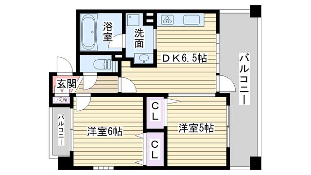 物件番号: 1068136810 citylife新大阪L'avenir  大阪市淀川区西中島4丁目 2DK マンション 間取り図