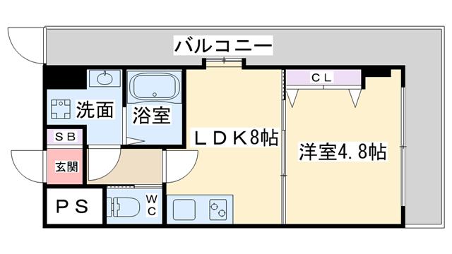 物件番号: 1068136834 プレジール  大阪市東淀川区西淡路4丁目 1LDK マンション 間取り図