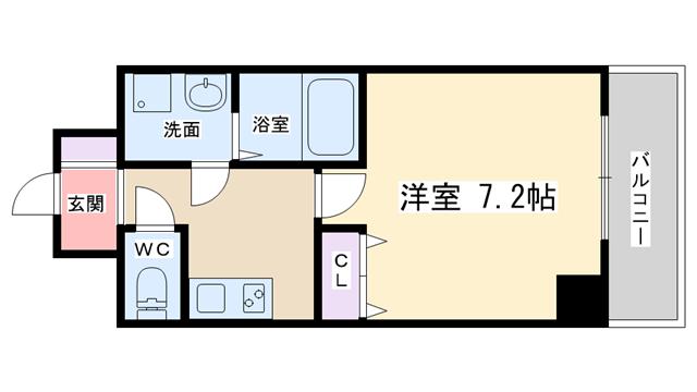 物件番号: 1068136972 ASTIA西中島Ⅱ  大阪市淀川区西中島4丁目 1K マンション 間取り図