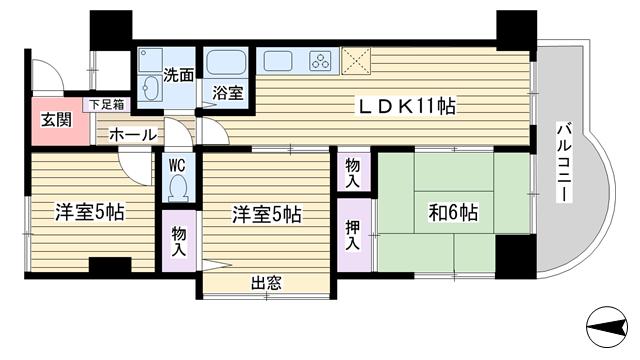 物件番号: 1068136974 ロイヤルパーク  大阪市淀川区西中島2丁目 3LDK マンション 間取り図
