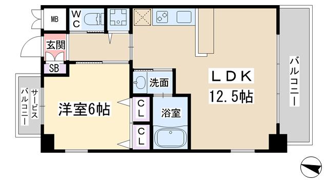 物件番号: 1068137355 スプランディッド新大阪キャトル  大阪市淀川区西中島3丁目 1LDK マンション 間取り図