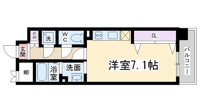 物件番号: 1068137358 S-FORT新大阪ravir  大阪市淀川区西中島3丁目 1R マンション 間取り図