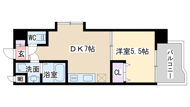 物件番号: 1068137510 will Do十三東3  大阪市淀川区十三東3丁目 1DK マンション 間取り図