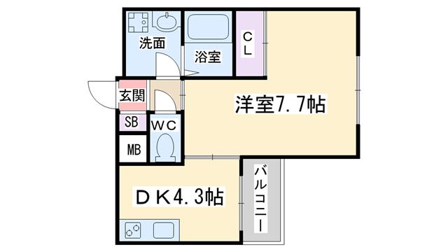 物件番号: 1068137591 アズールパーク  大阪市東淀川区北江口4丁目 1DK マンション 間取り図