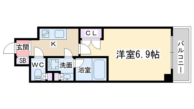 物件番号: 1068137652 エグゼ北大阪  大阪市淀川区十三東1丁目 1K マンション 間取り図