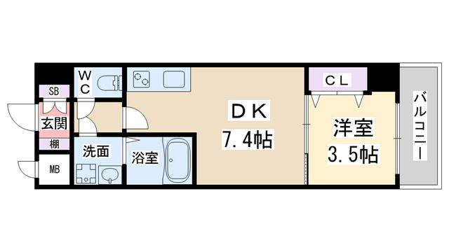 物件番号: 1068137734 レオンコンフォート新大阪ウインズ  大阪市淀川区十三東3丁目 1DK マンション 間取り図