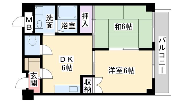 物件番号: 1068137769 パークロッジ  大阪市淀川区木川東4丁目 2DK マンション 間取り図